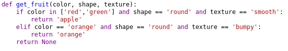 In this code certain features of oranges and apples are defined