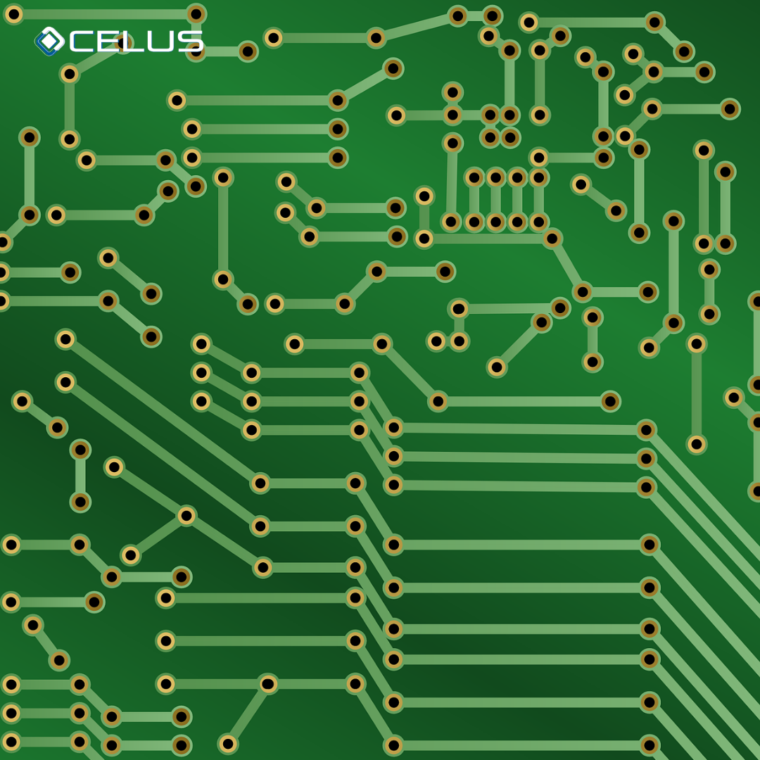 Simplistic drawing of a PCB: routes and holes on a green board